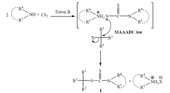 Triton-B catalyzed, efficient and solvent-free approach for the synthesis of dithiocarbamates By Zaidi et al. (2017)
